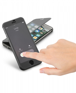 Cellularline Book Touch - iPhone 7 Custodia a libro in materiale touch screen trasparente Nero