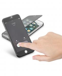 Cellularline Book Touch - iPhone 7 Plus Custodia a libro in materiale touch screen trasparente Nero