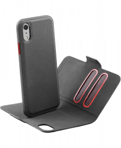 Cellularline Match - iPhone XR Custodia a libro con cover interna removibile Nero