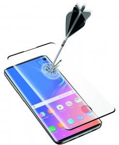 Cellularline Second Glass 3D - Galaxy S10 Vetro curvo temperato, resistente e ultra sottile Nero. Trasparente