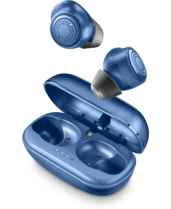 Cellularline Petit - Universale Auricolari Bluetooth® in-ear senza fili con caricabatteria portatile Blu