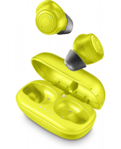 Cellularline Petit - Universale Auricolari Bluetooth® in-ear senza fili con caricabatteria portatile Lime