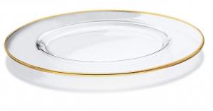 Sottopiatto in vetro con bordo oro zecchino set 2 pezzi cm.diam.32