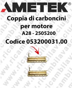 COPPIA di Carboncini Motore aspirazione per motore  Ametek A28 - 2505200 2 x Cod: 053200031.00-2