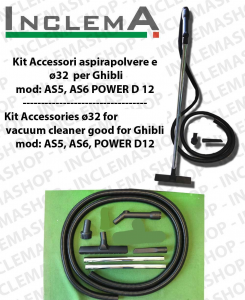 KIT tubo flessibile e Accessori  Aspirapolvere ø32 valido per GHIBLI mod: AS 5 , AS 6 , POWER D12