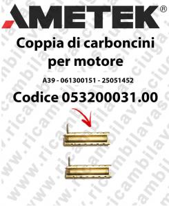 COPPIA di Carboncini per Motore aspirazione 061300151 per motore  Ametek A39 - 25051452 x Cod: 053200031.00
