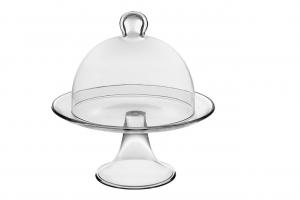 Alzata per dolci e frutta in vetro con campana in vetro cm.22,5h diam.21