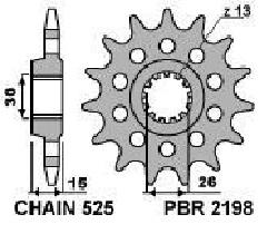 21981618NC PIGNONE TRASMISSIONE PBR  Z.16 PASSO 525 BMW S RR-XR