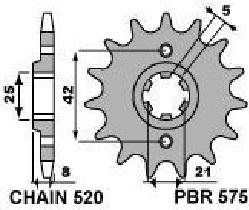 5751418NC PIGNONE TRASMISSIONE PBR  Z.14 PASSO 520 YAMAHA XT 400>600  TT 250