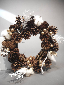 TABOR Corona Bacche Oro D.28Cm Natale Ghirlande E Frange