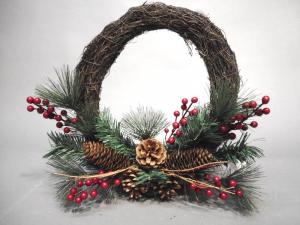 TABOR Corona Rattan Pigne/Bacche D.40 Natale Ghirlande E Frange