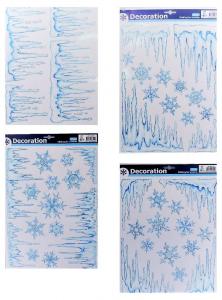 TABOR Vetrofanie Ghiaccio/Fiocchi Di Neve Bianco 41X29Cm 4As Natale Vetrofanie,