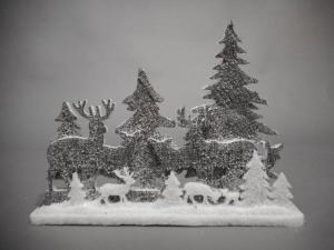 TABOR Pannel.C/Renne Grigio 41X29Cm Natale Decorazioni E Oggettistica