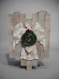 TABOR Pannello Legno C/Angelo 38X25 Natale Decorazioni E Oggettistica
