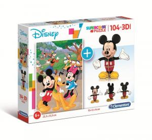 CLEMENTONI Puzzle 104 + 3D Model Mickey Puzzle