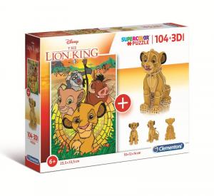 CLEMENTONI Puzzle 104 + 3D Model Lion King Puzzle