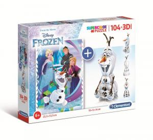 CLEMENTONI Puzzle 104 + 3D Model Frozen Puzzle
