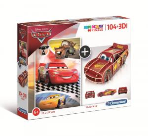 CLEMENTONI Puzzle 104 + 3D Model Cars Puzzle