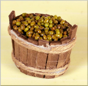 ROSSI ROSA Tinozza In Legno C/Olive Cm. 5,5X4,5X5,5 Natale Presepe - Accessori