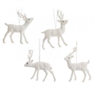 KAEMINGK Plastic Reindeer W Hanger 4Ass White Natale Decorazioni E Oggettistica