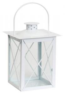 EDELMAN Lanterna Saragozza Bianca - Misure 14X14X20Cm Natale Luci E Decorazioni
