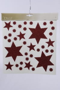 KAEMINGK Window Decoration Star Design Christmas Red Natale Vetrofanie,