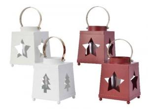 KAEMINGK Portacandele Tealight In Ferro Rosso/Bianco Natale Candele E Incensi