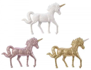 KAEMINGK1  Unicorno Glitter In Plastica 3 Colori Assortiti Natale Decorazioni