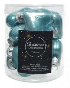 KAEMINGK Confezione Mini Cuori Da Albero Colore Blu Artico Lucido/Opaco Natale