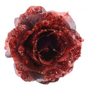 KAEMINGK Rosa In Plastica Con Clip Rosso Sangue Natale Decorazioni