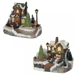 EDELMAN Christmas House 2 Assorted Battery Operated - L20Xw15Xh16,5C Natale