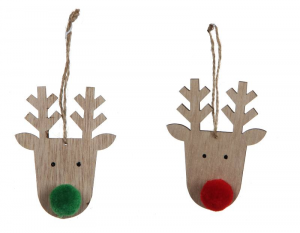 EDELMAN Renna In Legno Da Appendere Rosso/Verde Natale Decorazioni