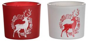 EDELMAN Portacandele Per Tealight In Vetro 2 Ass Renna Natale Candele E Incensi