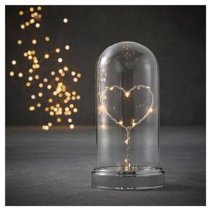EDELMAN Campana Con Cuore Led A Batteria - Luce Bianco Freddo E Timer Natale