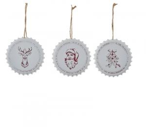 EDELMAN Decorazione Tappo Bianca Babbo Natale Renna 3Ass Natale Decorazioni