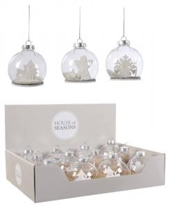 EDELMAN Palle Di Natale In Vetro Trasparente Con Ornamenti Interni Natale