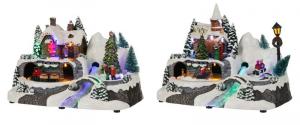 EDELMAN Villaggio Luminoso Con Fibre Ottiche A Batteria Natale Luci