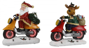 EDELMAN Figura Babbo Natale/Renna In Moto A Batteria Natale Decorazioni