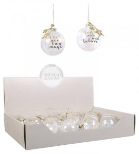 EDELMAN Palline Decorate Trasparenti 2Ass Natale Alberi - Sfere E Palline