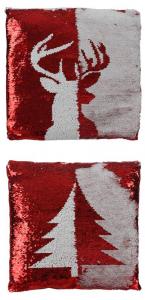 EDELMAN Cuscino Con Paillettes Reversibili A Tema Natalizio Colore Bianco/Rosso