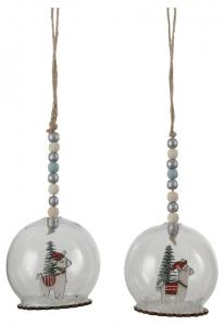 EDELMAN Palline Trasparenti Decorate Con Figura Lama 2Ass Natale Alberi - Sfere