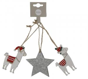 EDELMAN Decorazione Da Appendere Lama Bianco E Argento 3 Pezzi Natale