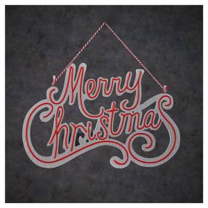 EDELMAN Decorazione Da Muro A Led Merry Christmas Rosso A Batteria Natale