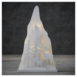 EDELMAN Decorazione Natalizia Montagna Con 8 Led Bianco Caldo A Batteria Natale