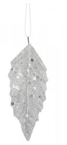 EDELMAN Confezione 6 Pezzi Foglia Argento Con Paillettes Natale Decorazioni