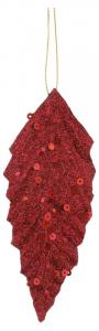 EDELMAN Confezione 6 Pezzi Foglia Rossa Con Paillettes Natale Decorazioni