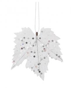 EDELMAN Confezione 6 Pezzi Foglia D'Acero Bianco Natale Decorazioni