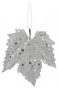 EDELMAN Confezione 6 Pezzi Foglia D'Acero Argento Natale Decorazioni