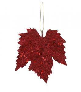 EDELMAN Confezione 6 Pezzi Foglia D'Acero Bordeaux Natale Decorazioni