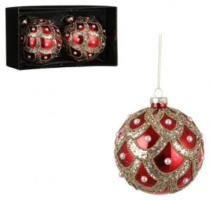 EDELMAN Confezione 2 Palline Rosse Con Decorazioni Oro Natale Alberi - Sfere